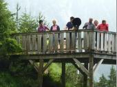 Der Wanderweg zum Wasserfall war gut begehbar. Gelegentlich mussten landschaftliche Schwierigkeiten mit Brücken wie dieser umgangen werden. Auf dem Bild (v.l.n.r.) Iris, Angelika, Jacko, Mane, Brigitte B. und Brigitte N.  (Bild: Lisa N.)