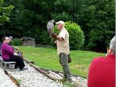 Der Falkner – hier mit einem ausgewachsenen Falken – erklärte die Eigenheiten der Tiere und gab einen Einblick in die Welt der Greifvögel.