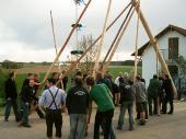Über 30 Leute stemmten den Baum Stück für Stück hoch.