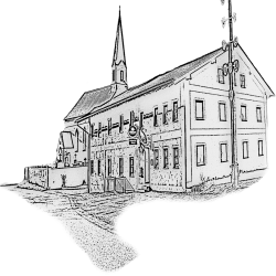 Wirtshaus und Kirche in Steinbach bei Baierbach