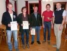 Für langjährige Mitgliedschaft wurden geehrt: v.l.n.r. Thomas Kühn (20 Jahre), Brigitte Nöscher (30 Jahre), Manfred Angermeier (40 Jahre) und Paul Stangl (25 Jahre Standartenträger) und Schützenmeister Freudenreich